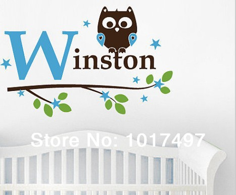 free shipping 82x60cm kids boy Name Owl Wall Decal Sticker ,Custom name owl tree vinyl stickers baby boy bedroom decoration