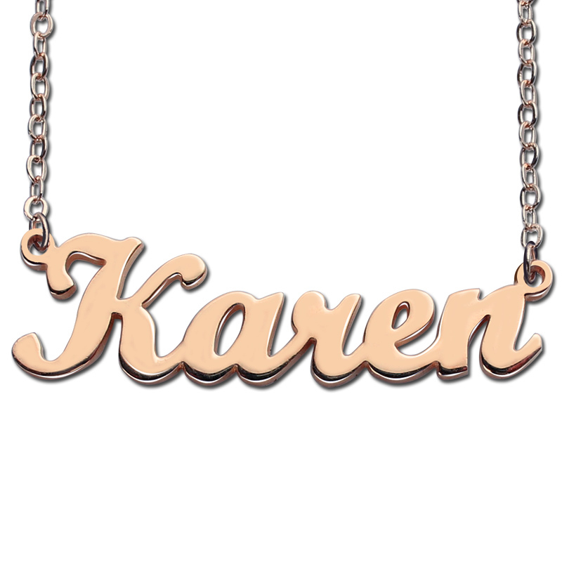 где купить AILIN Freeshipping-Karen Style Name Necklace Rose Gold Color Over Silver Initials Personalized Jewelry Customized Necklace Gift по лучшей цене