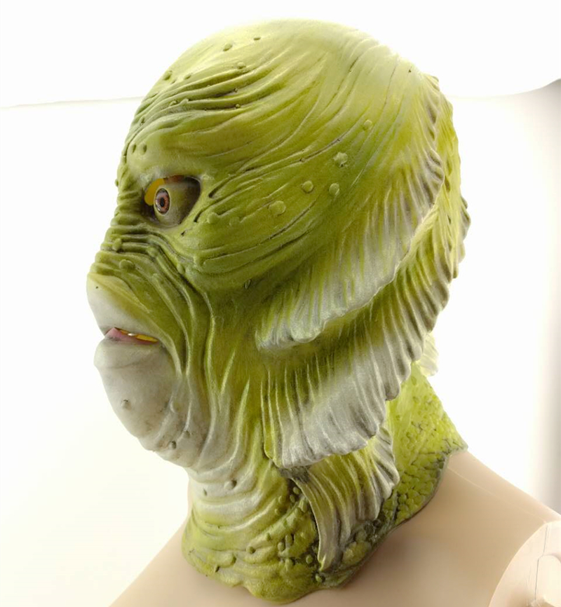 Creature Black Lagoon mask Latex Full head Masks Overhead animal Lizard Scary Monster Latex Fish Cosplay Merman Props Halloween in Party Masks from Home Garden
