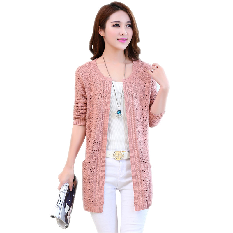 2018 Spring Autumn Women Hollow Out Knitted Sweaters Cape Female Long Sleeve Cardigans Thin Outwear Coat Tops Plus Size 4XL P192