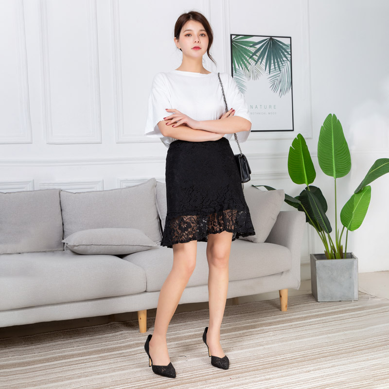 Summer Women Skirt Lace Mermaid Package Hip Slim Skirt Female Korean Style High Waist Slim High Quality Women Lace Mini Skirt
