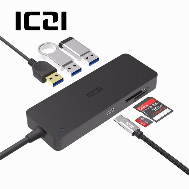 ICZI 6 in 1 USB C Hub 3 USB 3.0 Port + SD TF Card Reader + Power Delivery High Speed Data Transfer for MacBook Laptop Accessory