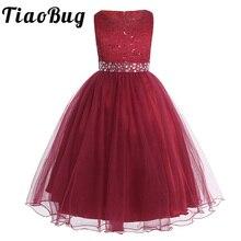 Mädchen Ärmellose Pailletten Spitze Mesh Blume Mädchen Kleid Prinzessin Pageant Ballkleid Hochzeit Kleid mit abnehmbaren schärpe SZ 2 14