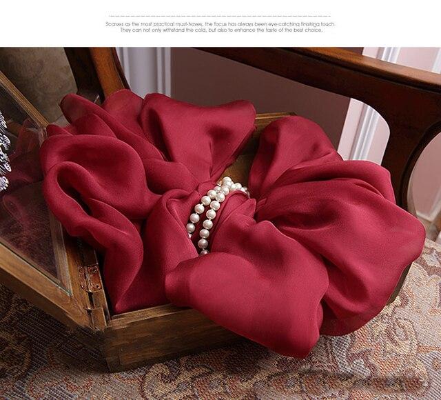 Сплошной цвет шифон шали Winte Теплые Красный шарф Мягкая роскошь бренд 100% Чистого шелка Квадратные шарфы Арабский мусульманский Хиджаб и Wrap