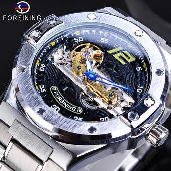Forsining Hot Transparent Mechanical Watch Men Gold Bridge Blue Automatic Movement Stainless Steel Belts Brand Relogio Masculino