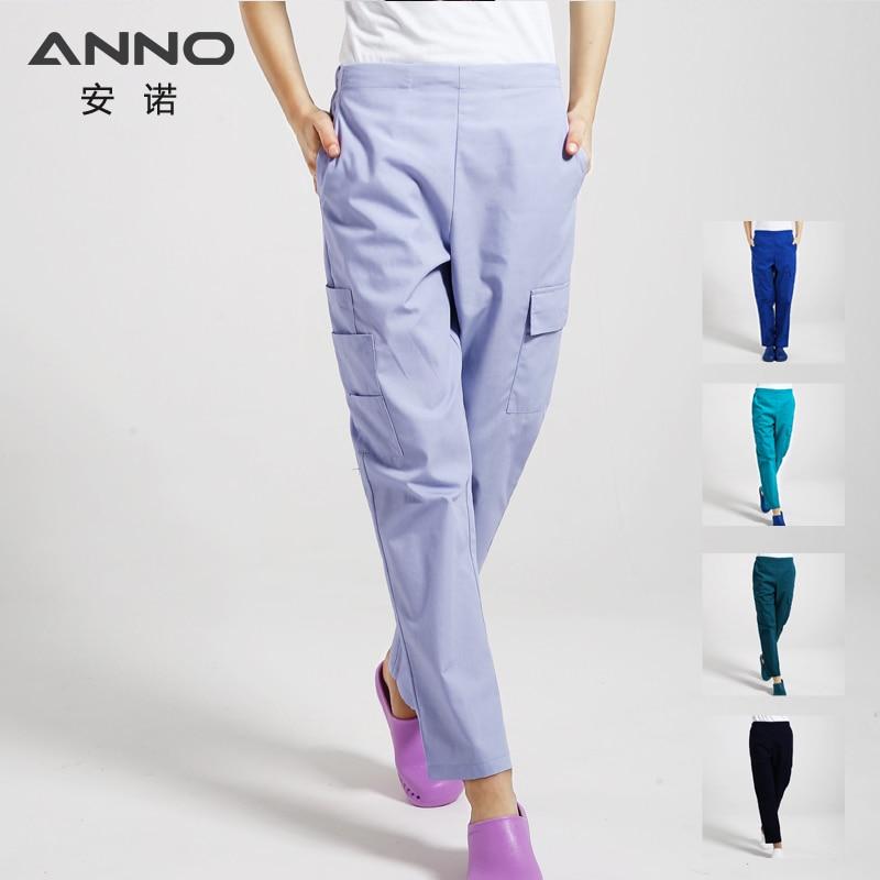 Multi Function Nurse Uniform Bottoms Cotton More Pockets Work Trouser Dental Medical Scrub Pants SPA Nursing Scrub Pants