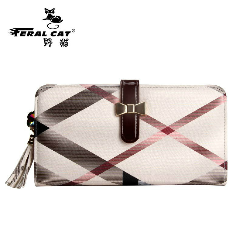 FERAL CAT 2017 Long Women Wallet Panelled PVC Casual Coin Purse Ladies Clutch Hasp Plaid Card Holder Standard Travel Carteira casual weaving design card holder handbag hasp wallet for women