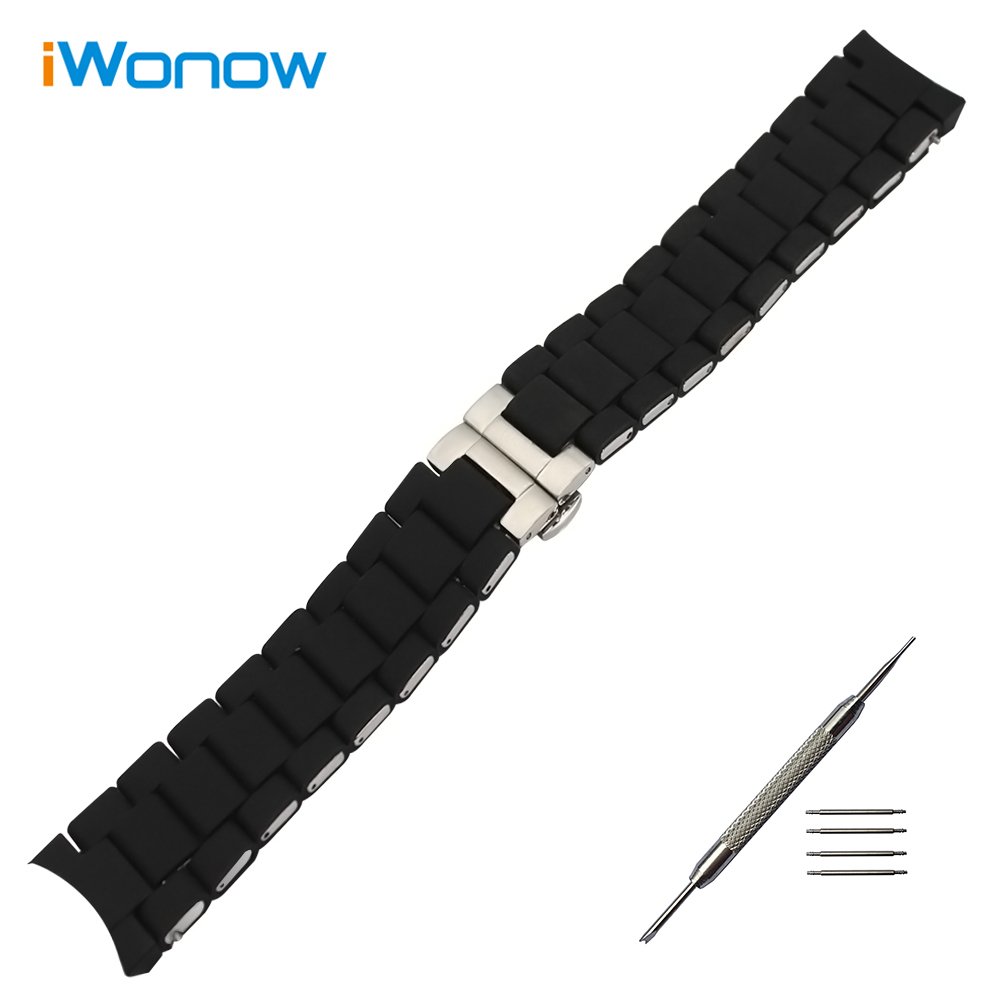 20mm 23mm Silicone Rubber Watchband +Tool for AR5858 AR5868 AR5905 AR5906 Curved End Watch Band Wrist Strap Replacement Bracelet 20mm 23mm curved end watchbands rubber wrap rose gold stainless steel watch strap solid link bracelet for ar5890 5905 5919 5858