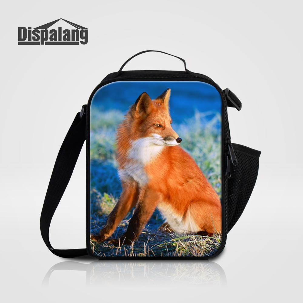 Мужские Термо-холщовые сумки для ланча, лисы, волка, динозавра, змеи, для мальчиков, сумка-холодильник для еды, пикника, Детская маленькая сумка-Ланч-бокс на молнии для школы - Цвет: Lunch Bag21