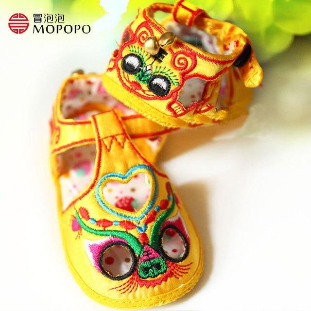 Mopopo 2017 Новорожденных детская Обувь Мужская Летняя Обувь Девочка Китайский Стиль Национальный Колорит Милый Ребенок Тапочки Мягкий Горячие Продажа