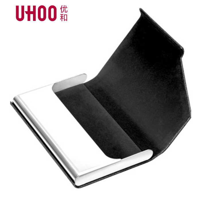 Statement Steel Men Business Card Holder PU Leather Cover Office Supplies Fashion Women Casual Storage Case Gift Box Package