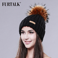 Furtalk Real Fur Hat Knitted Real Big Raccoon Pom Pom Hat Women Winter Hat Unisex Kids Ages 4-12 Warm Chunky Thick Stretchy Knit