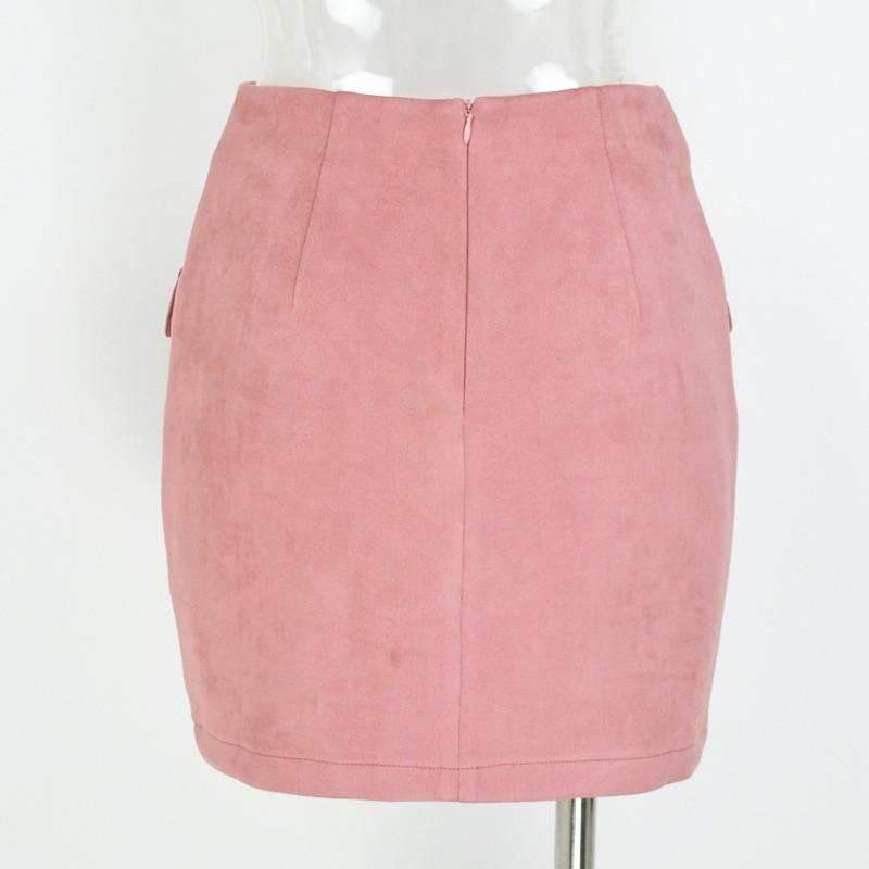 Vintage High Waist External Pocket Tight Suede Mini Skirt 1