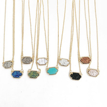 10 Colors Drusy Druzy Oval Necklaces Hexagon Pendant Gold Colour Chain Fashion Brand Jewelry for Women Girls 01