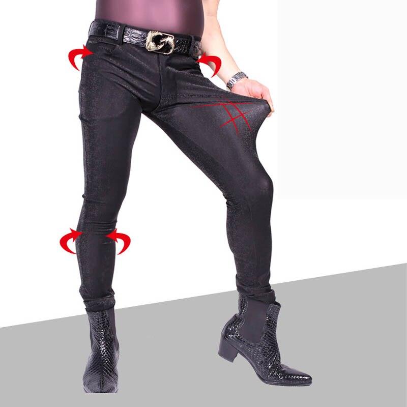 Sexy homme mode 3D Camouflage treillis décontracté jambe pantalon cheveux styliste PU mince en cuir Skinny Jeans Faux cuir homme crayon pantalon