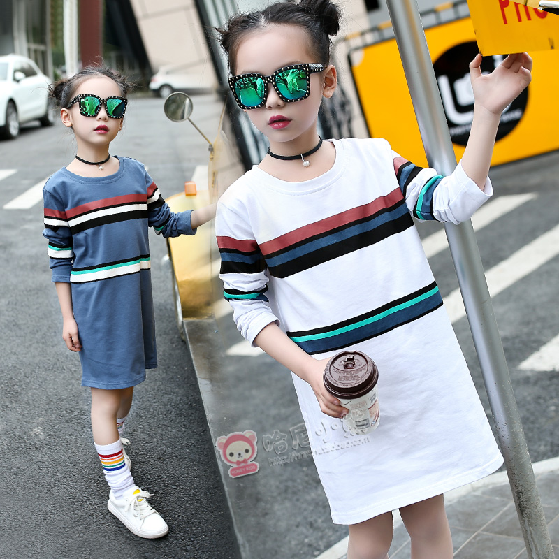 2017 Teenage Fashion Spring Children Clothing For Kids Girl Long Sleeve T Shirt Cotton Striped Tee Shirts Vetement Fille Costume