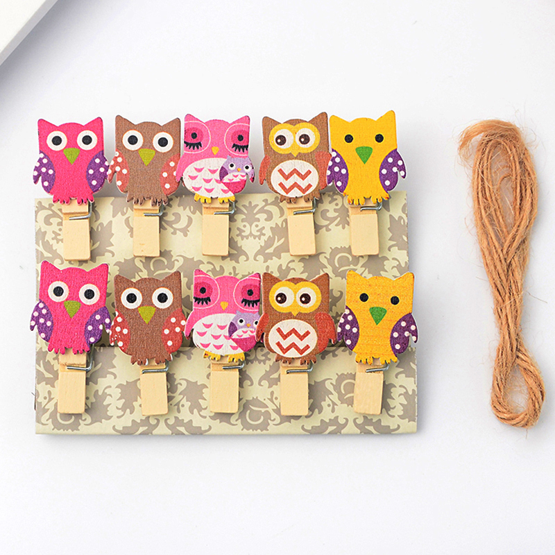 10 Pcs/lot Creative Kawaii Wooden Photo Paper Clips Cute Diy Decoration School Office Supplies Gift Stationery