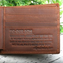 To our sons gift Engraved Bifold Wallet - I Will Always Be Yours Leather