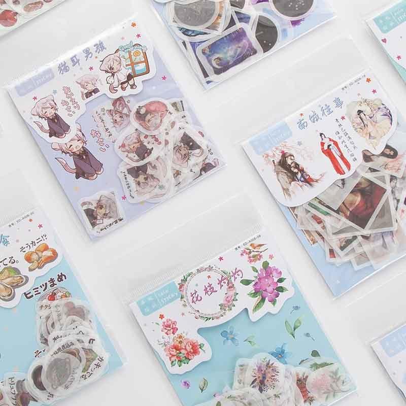 40 Pcs/pack Cute Cat Bullet Journal Decorative Stickers Scrapbooking Stick Label Diary Stationery Album Kawaii Flower Girl