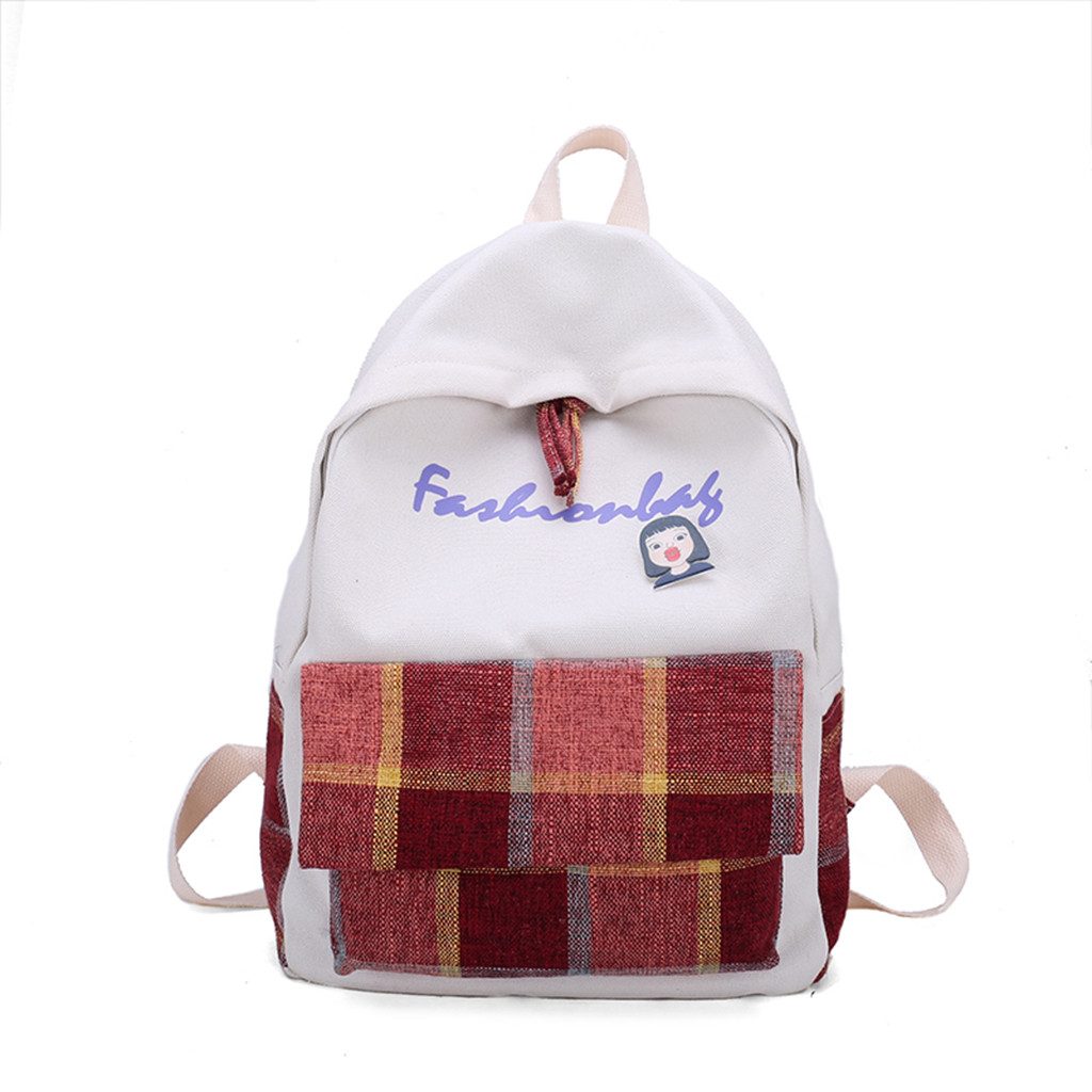 Fashion Women's Simple and versatile Backpack New Plaid Leisure Travel Backpack Large Capacity Charging Anti theft dropshipping(China)