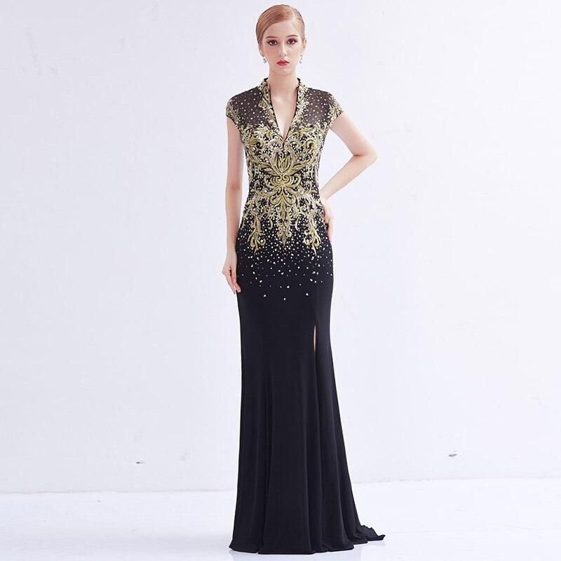 avondjurk Gold Embroidery Black Long Evening Dresses 2017 vestido ...
