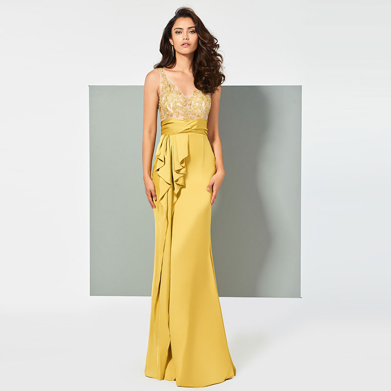 Tanpell Yellow   Evening     Dress   V-Neck Appliques Ruffles Women Floor Length Party Gown Sheath   Evening     Dress