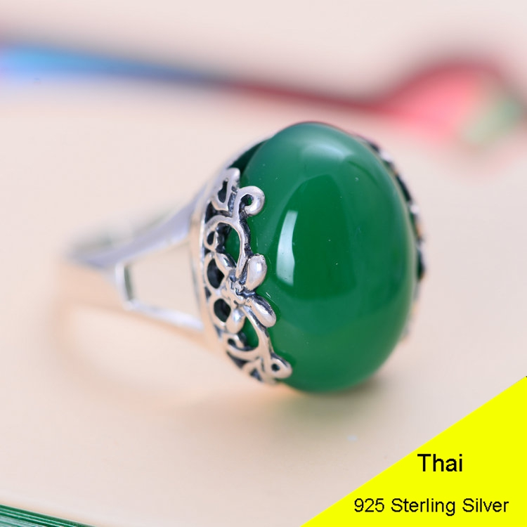 Green Agate & Red Garnet 925 Sterling Silver Retro Ring Women Thai Silver Fine Jewelry Gift Finger Ring CH051015
