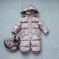 Novo macacão de Bebê das meninas dos meninos Inverno pato branco para baixo grosso quente do inverno do bebê para baixo roupas macacão macacão de bebê Roupas De Bebe N17