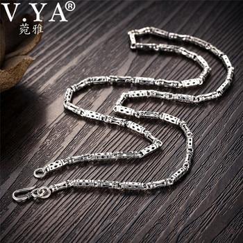 0e18620c926c V YA 4mm 925 Plata macho cadena collar bambú forma S925 plata de ley cadenas  para hombres Homme joyería 50 cm 55 cm 60 cm
