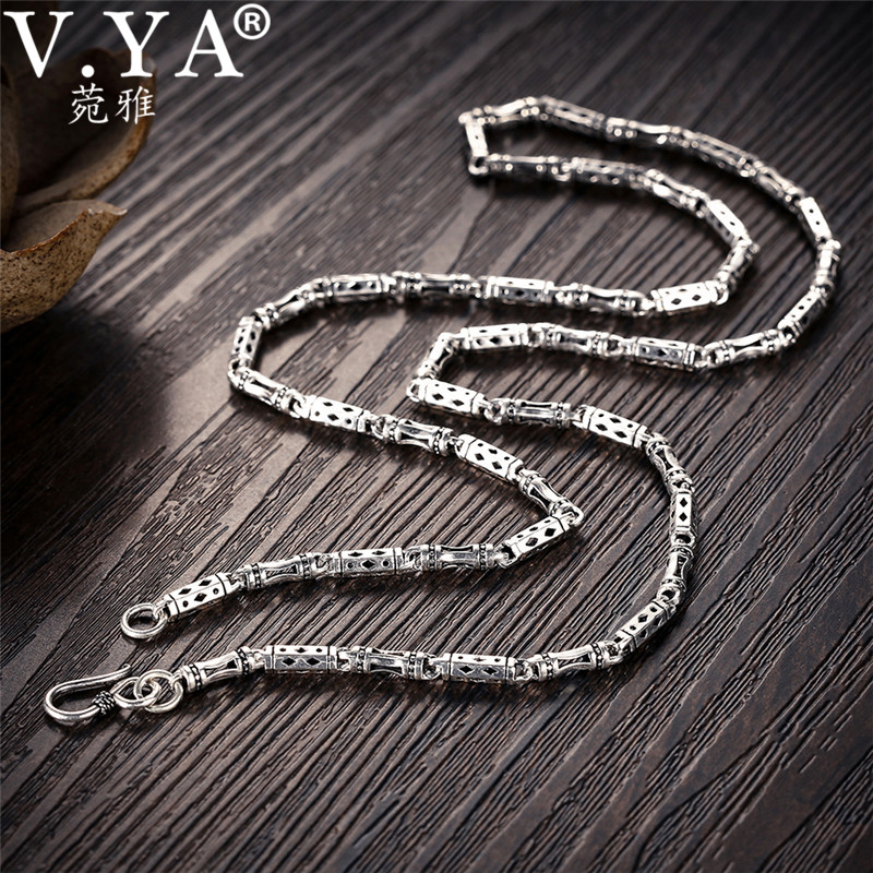 V.YA 4mm 925 Silver Male Chain Necklace Bamboo Shape S925 Sterling Silver Chains for Men Homme Jewelry 50cm 55cm 60cmV.YA 4mm 925 Silver Male Chain Necklace Bamboo Shape S925 Sterling Silver Chains for Men Homme Jewelry 50cm 55cm 60cm