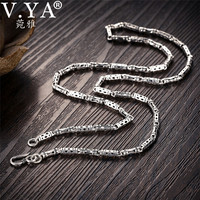 V.YA 4mm 925 Silver Male Chain Necklace Bamboo Shape S925 Sterling Silver Chains for Men Homme Jewelry 50cm 55cm 60cm