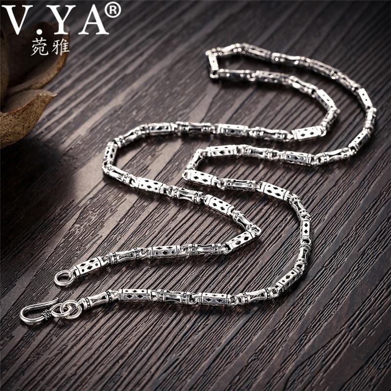 V. ya 4mm 925 prata masculino corrente colar forma de bambu s925 prata esterlina correntes para homem homme jóias 50cm 55cm 60cm