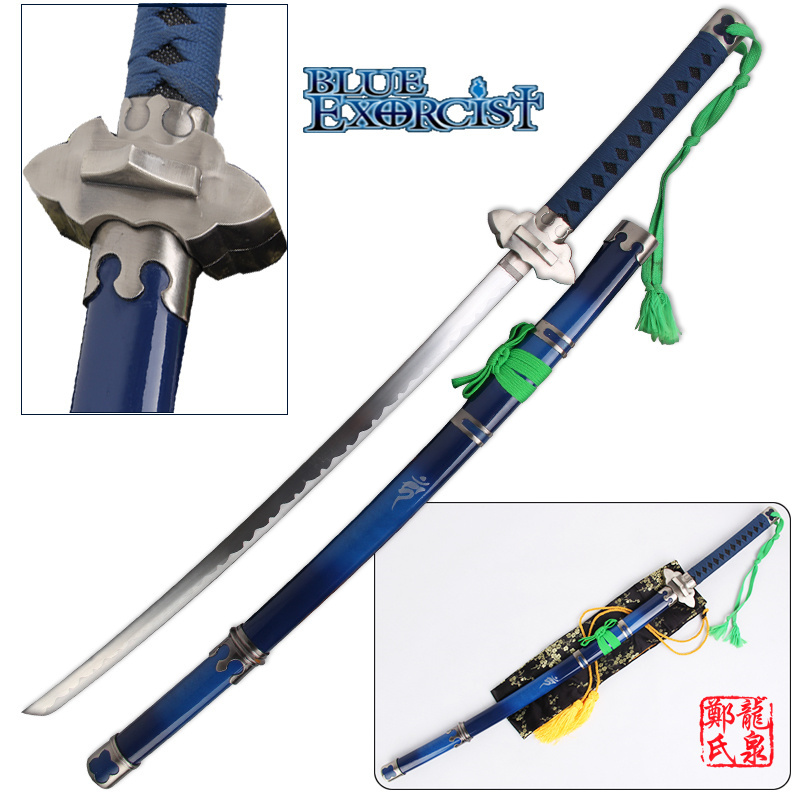 41Inch Blue Exorcist Sword Ao No Ekusoshisuto Rin Okumura Kurikara Katana Cosplay Props Decorative Swords No Sharp