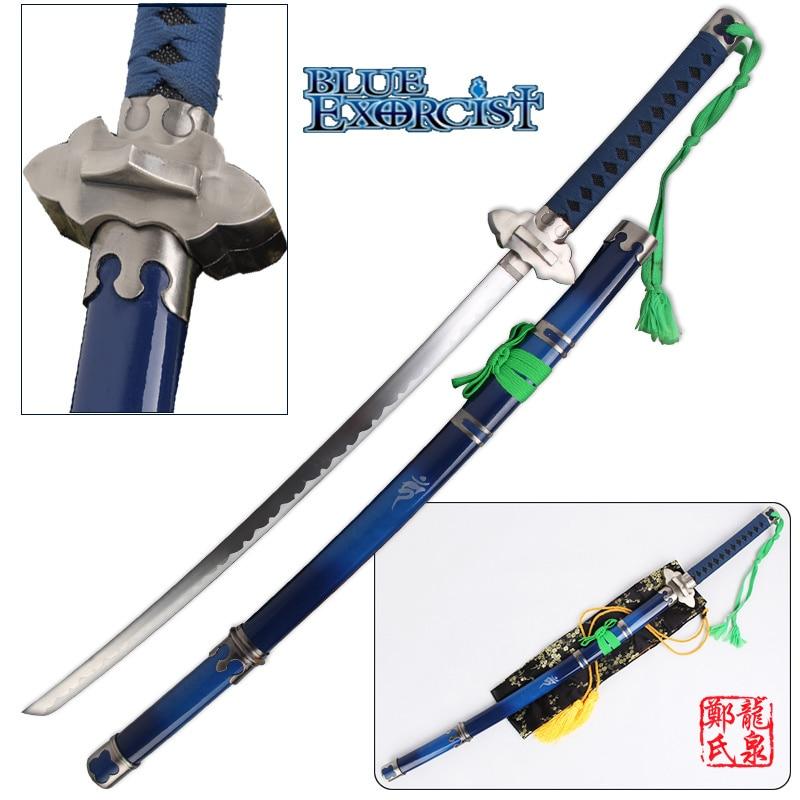 41Inch Blue Exorcist Sword Ao No Ekusoshisuto Rin Okumura Kurikara Katana Cosplay Props Decorative Swords No Sharp
