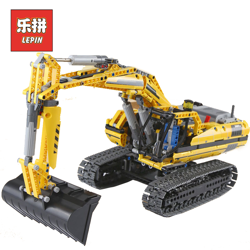 New LEPIN 20007 Technic the Yellow RC Motorized Excavator Model Building Blocks Bricks Legoinglys Kids Toy Christmas Gift 8043 lepin 20007 technic series engineering excavator diy set model building kits blocks bricks children toys christmas gift 8043