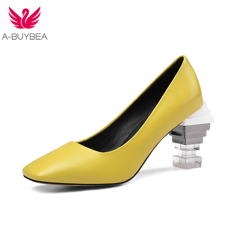 New Real Leather High Qaulity Women Pumps Fashion Square Toe Solid Slip-on Crystal Heels Women Shoes Ladies Spring Office ShoesNew Real Leather High Qaulity Women Pumps Fashion Square Toe Solid Slip-on Crystal Heels Women Shoes Ladies Spring Office Shoes