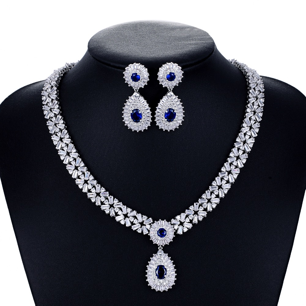 Crystal CZ Cubic Zirconia Bridal Wedding Drop Necklace Earring Set Jewelry Sets for Women Accessories CN10086 be8 luxury red water drop pendant jewelry set for women 5 colors bohemia necklace earring sets bridal dress accessories s 024