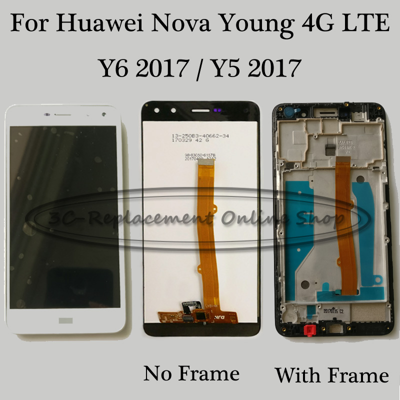 For Huawei Nova Young 4G LTE / Y6 2017 / Y5 2017 MYA-L41 LCD DIsplay Touch Screen Digitizer Assembly / Only Touch / With Frame
