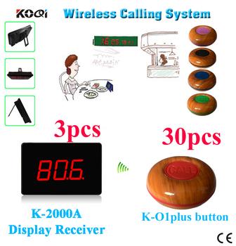 KOQI bezprzewodowy System stronicowania kelner brzęczyk obsługa 3 licznik odbiorniki z 30 dzwony tanie i dobre opinie Ycall K-2000A K-O1plus Wireless Paging System 433 92mhz 300m in open area 20mA 195*135*30mm 1 year
