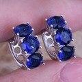 Candy Blue Created Sapphire 925 Sterling Silver Huggie Hoop Earrings For Women  S0230