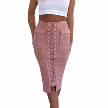 Autumn Lace Up Leather Suede Skirt 2018 Winter High Waist Midi Skirts  Bodycon Long Pencil Skirts Women Casual Slim Saia Midi dfc49d0e002d