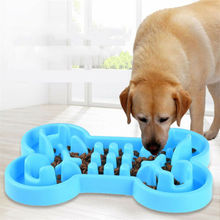 Fashion Pet Dog Cat Slow Feeder Bone Water Food Healthy Anti Slip Gulp Feed Dish Bowl