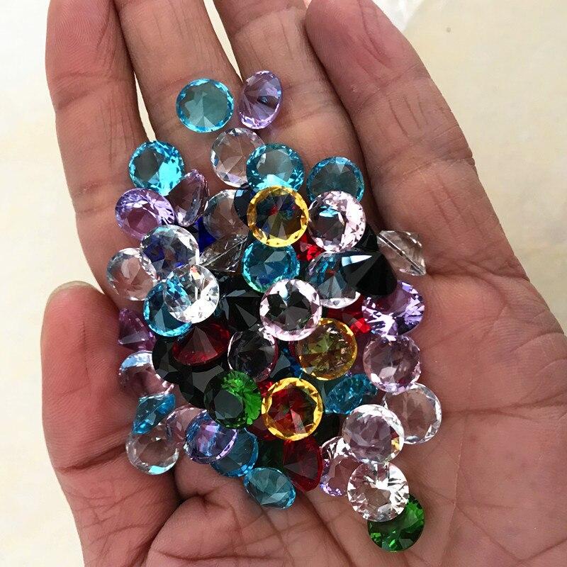 10MM 80pcs Dimeter Crystal Diamond Rainbow Glass Beads Feng Shui Sphere Crystals Decorative Craft Gift Wedding Home Vase Decor
