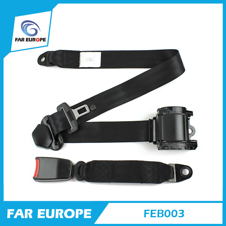 Universal ELR Retractable 3 Point Auto Car Safety Seat Belt For All Car Black Color (FEB003)