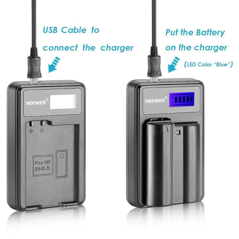 Neewer USB Battery Charger for EN-EL15 Rechargeable Battery for Nikon D600 D610 D7000 D7100 D750 D800 D800S D800E D810