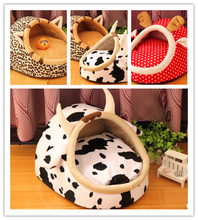 milk cow design dog house pet puppy bed Leopard print cat sofa dot animal home(China)