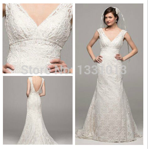 2015Custom Made 2014 New All Over Beaded Lace Trumpet Gown Style     2015Custom Made 2014 New All Over Beaded Lace Trumpet Gown Style T9612  Wedding Dresses
