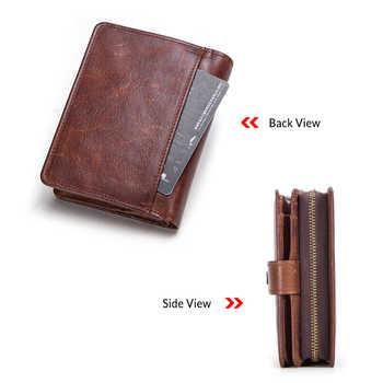 100% Genuine Leather Men Wallets Zipper Coin Purse Short Male Money Bag Quality Designer Rfid Walet Small Card Holder Clutch