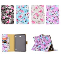 Flower Cloth Print Flip Stand PU Leather Card Holder Cover Protective Case For Samsung Galaxy Tab