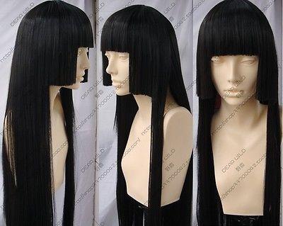 Inuyasha Kikyo Long Three flat font b knife b font Black Cosplay Wigs